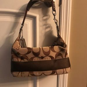 Signature Coach Brown and Tan shoulder bag
